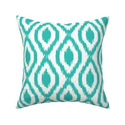 Ikat Chain Turquoise Blue White Throw Pillow Cover W Optional Insert By Roostery