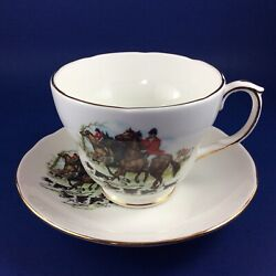 Set Of 4 Duchess - Hunting Scenes - Bone China Oversize Breakfast Cups And Saucers