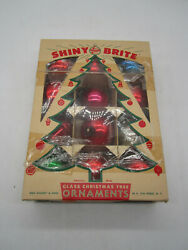 Box Of 12 Vintage Shiny Brite Ornaments Stenciled Silent Night Merry Christmas