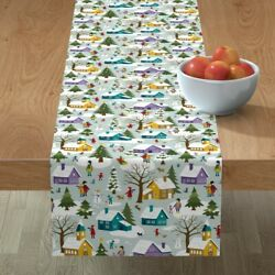 Table Runner Christmas Winter Village People Snow Trees Houses Cotton Sateen