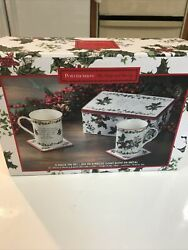Nib Portmeirion 5- Piece The Holly And The Ivy Tin + Mugs Boxed Set, New, Free Sh