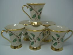 Lenox Holiday Nouveau Gold Footed Accent Mugs Set Of Six Mugs. New
