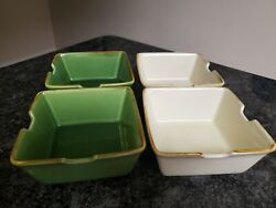 4 Unique Pottery Barn Asian Square Soup Noodle Bowls 2 Green And 2 White