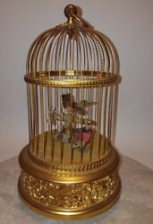 Swiss Reuge Music Box Cage Double Singing Birds Newly Serviced Automaton