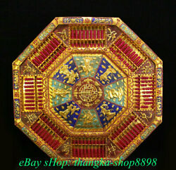 28 Old China Copper 24k Gold Gems Palace Eight Immortals Abacus Table Desk