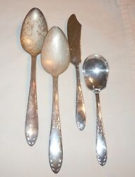 Vtg King Edward National Silver Plate 4 Serving Pieces/butter/sugar And 2 Spoons