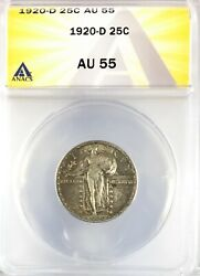 1920-d Standing Liberty Quarter Silver 25c About Uncirculated Anacs Au55