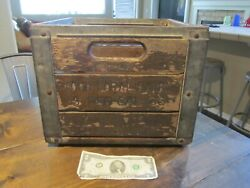 Antique Vtg Farm Dairy Milk Bottle Crate Wood Metal Your Local Dairy California