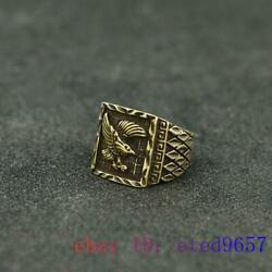 Brass Eagle Ring Sculptures Jewelry Carved Fengshui Gifts Handmade Statuette