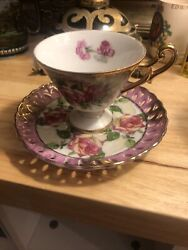 Vtg Lefton China Hand Painted Pink And Yellow Rose Tea Cup And Saucer Set 801