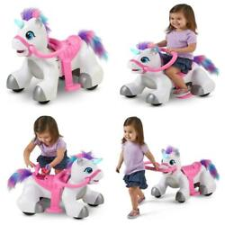 Unicorn Ride On Toy 6-volt Kids Girls Toddler Battery Powered With Sounds Play