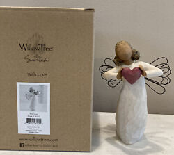 Willow Tree Figurine With Love You Are Loved Woman Angel With Heart Hand Painted