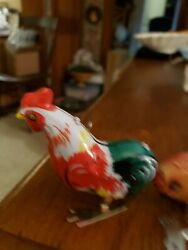 Vintage Ms205 Tin Litho Rooster Wind Up Toy With Key Works