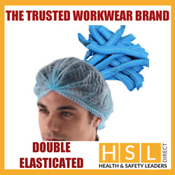 Double Elastic Blue Or White Mob Caps Hair Nets Cover Catering Food Kitchen