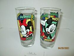 Vintage Disney Mickey Mouse, Minnie Mouse And Donald Duck 8 Oz. Juice Glasses