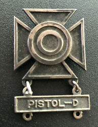 Wwii Ww2 Us Army Sharpshooter Marksman Qualification Badge Pisol- D Bar Pin Back