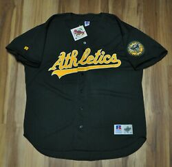 Oakland A's Athletics Jersey Cursive Blank Green Russell Men Authentic 52 Nwt