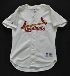 St Louis Cardinals Jersey Blank Russell White Spell Out Authentic Sewn Men 44 L
