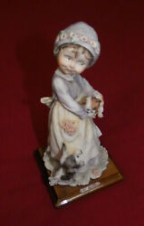G. Armani Girl With Dog Holding Cat 1986 On Wood Base 9 Tall Figurine