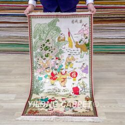 Yilong 2and039x4and039 The Kids Tapestry Hign Density 500l Handmade Carpet Silk Rug 002h
