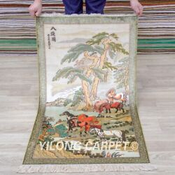 Yilong 2and039x4and039 Eight Horses Tapestry Hign Density Handwoven Carpet Silk Rug 010h