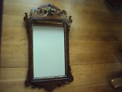 Antique Queen Anne-chippendale Transition Mirror C 1750-1760 All Original