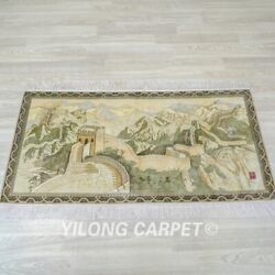 Yilong 2and039x4and039 The Great Wall Tapestry High Density Handmade Carpet Silk Rug 114h