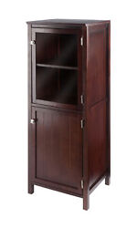 Winsome Wood Home Brooke Jelly Cupboard 2-section Cabinet Walnut