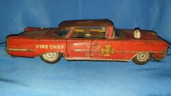 Old Vintage Friction Powered Fire Dept Chief Car Toy From Japan 1950