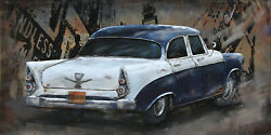 Vintage Car 3d Metal Wall Art Oil Painting Handmade Decoration For Home Hotel De