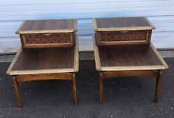 Pair Of Mid Century Modern Lane Perception Two Tier End Tables