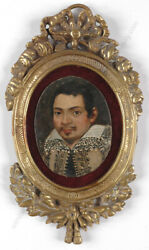 Portrait Of A Young Man, Spanish Oil On Copper Miniature, 17th Century