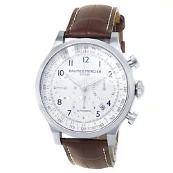 Baume And Mercier Capeland Stainless Steel Leather Auto White Menand039s Watch M0a10082