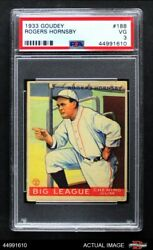 1933 Goudey 188 Rogers Hornsby Browns Psa 3 - Vg