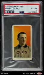 1909 T206 Orval Overall Portrait Cubs Psa 4 - Vg/ex