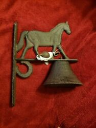 Large Horse Dinner Bell Cast Iron Wall Mount Antique Style Rustic Finish Western