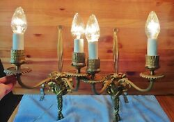 2 Antique Brass Candle Wall Sconces Electric Double Arm Ribbon Tassel Vintage