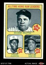 1973 Topps 1 Hank Aaron / Babe Ruth / Willie Mays - All-time Hr Le 6.5 - Ex/mt+