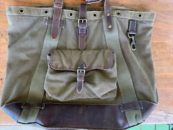 Menandrsquos Large Tote Bag Canvas Leather Vintage Army Green Preowned