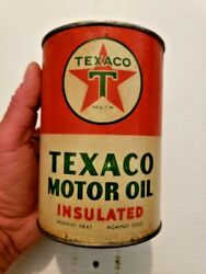 Vintage Texaco Insulated Motor Oil Metal 1 Quart Gas And Oil Nice