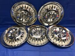 Vintage Set Of 5 1959 Mercury 14andrdquo Hubcaps Monterey Montclair Park Lane Good Cond