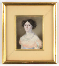 Lady In White Gown Bride Russian Miniature 1820/25
