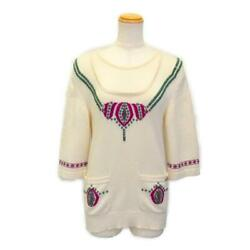 Authentic Knit Sweater P44225k04571 Cashmere White Purple Green Used 36