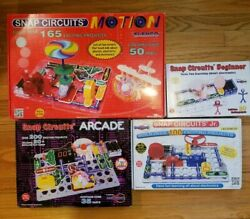 Lot Of 4 Snap Circuits Beginner, Jr Sc-100, Arcade, And Motion Scm-165, All...