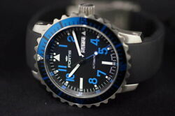 Fortis B-42 Marine Master 20 Atm Automatic Black Rubber Strap Blue Diver Watch