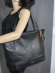 Coach F28726 North South Park Tote Bag Black Leather $88.00