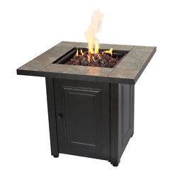 Gas Fire Pit Outdoor Lp Propane Square Fireplace Patio Pool Lava Rock Heater