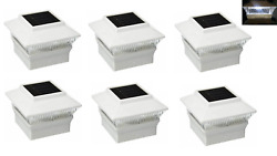 6 Pack White Outdoor Solar Powered Led 4 X 4 Fence Post Cap Lights For Pvc Post