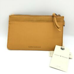 LUCKY BRAND Saffron Leather Dual Zippered Clutch Phone Rayla Wristlet Wallet NEW $39.60
