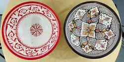 Vintage Moroccan Tribal Pottery Hand Painted Large Bowls, Set Of 2